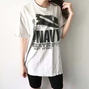 80s 90s Vintage Navy Graphic Tee Military Shirt L